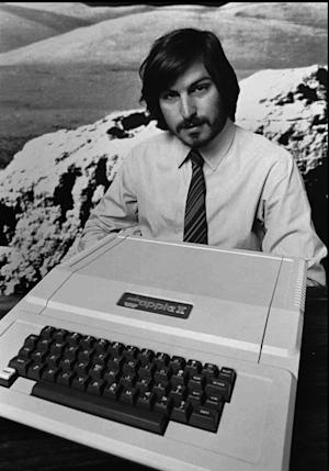 FILE - This 1977 file photo shows Apple co-founder Steve Jobs as he introduces the new Apple II in Cupertino, Calif. Apple on Wednesday, Oct. 5, 2011 said Jobs has died. He was 56. (AP Photo/Apple Computers Inc., File)