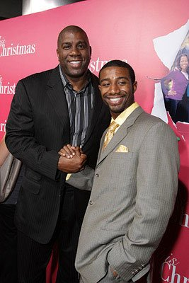 Earvin Johnson and son Andre Johnson at the Hollywood premiere of Screen Gems' This Christmas