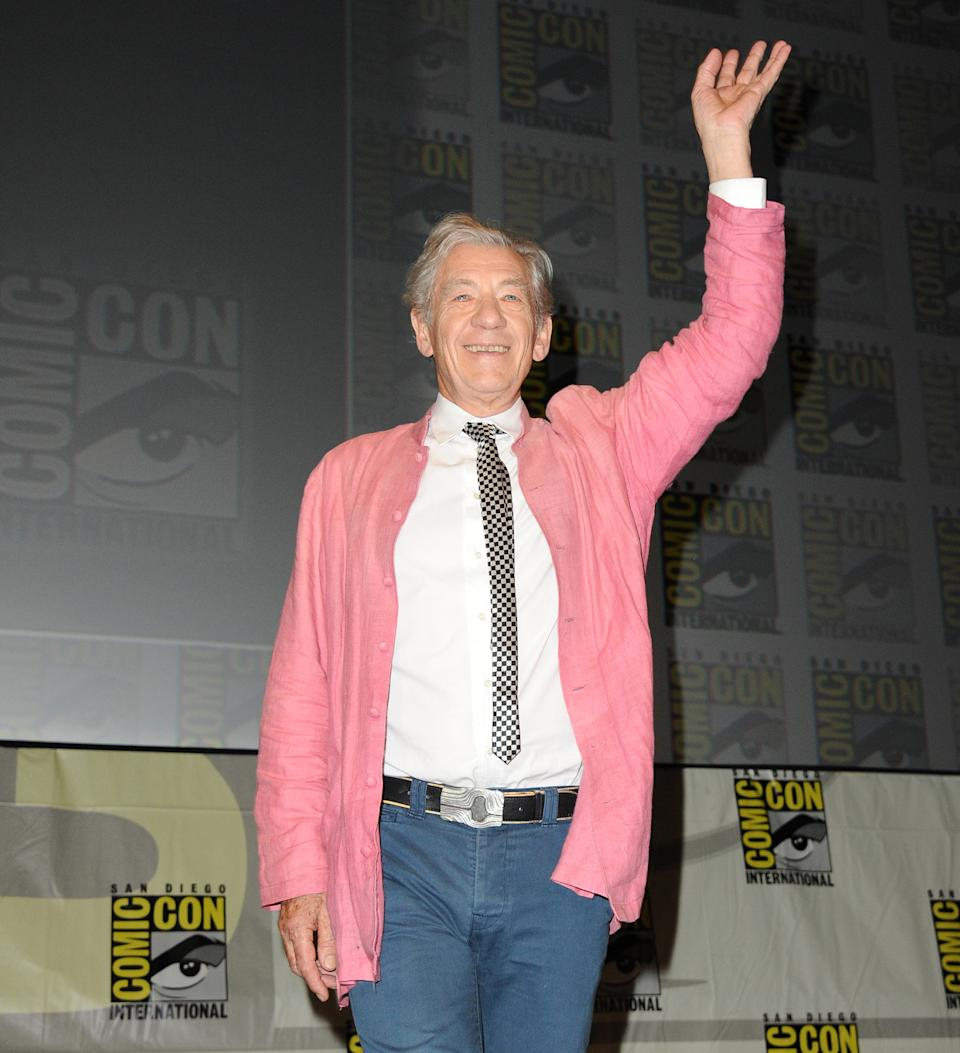 "Sir Ian McKellen speaks at the ""The Hobbit: An Unexpected Journey"" panel 2012 Comic Con on Saturday, July 14, 2012 in San Diego, Calif. (Photo by Jordan Strauss/Invision/AP)"