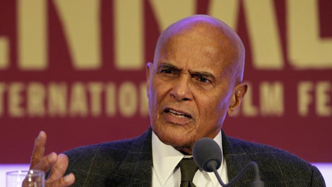 FILE - In this Oct. 22, 2011 file photo, U.S singer Harry Belafonte speaks at a press conference at Viennale, the Vienna international film festival, in Vienna, Austria. Belafonte told The Associated Press on Tuesday, Jan. 29, 2013 that the current discussion arising out of the Connecticut school massacre in December often ignores decades of urban gun violence. He said it's important that African-American leaders participate in the debate over gun control. (AP Photo/Ronald Zak, File)