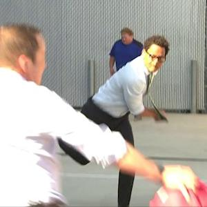 NFL Media Senior Fantasy Analyst Michael Fabiano and NFL Media's Eric Davis square off in dodgeball