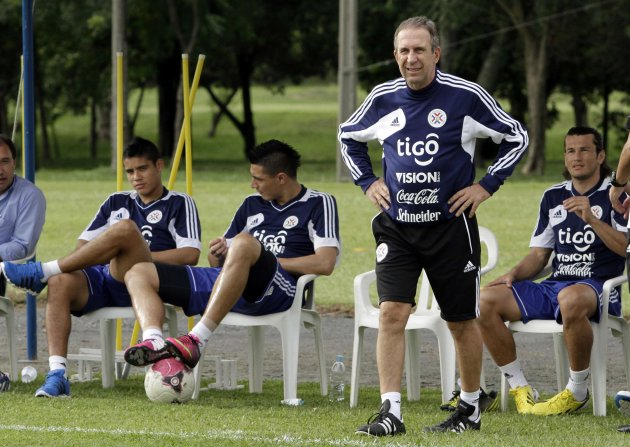 Paraguay's national soccer team manager Gerardo Pelusso looks on before a training session in Ypane