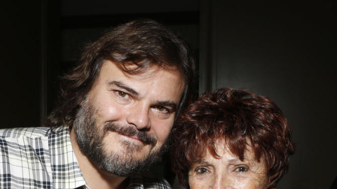 """Jack Black and HFPA President Dr. Aida Takla O'Reilly attends a celebration for """"Bernie"""" by Millennium Entertainment on Tuesday Oct. 30, 2012, in Los Angeles.  (Photo by Todd Williamson/Invision for Millennium Entertainment/AP Images)"""