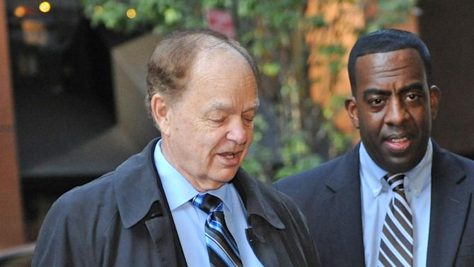 Minnesota Timberwolves owner Glenn Taylor,left, arrives at a midtown hotel where NBA labor talks are scheduled to resume, Saturday, Nov. 5, 2011, in New York. (AP Photo/ Louis Lanzano)