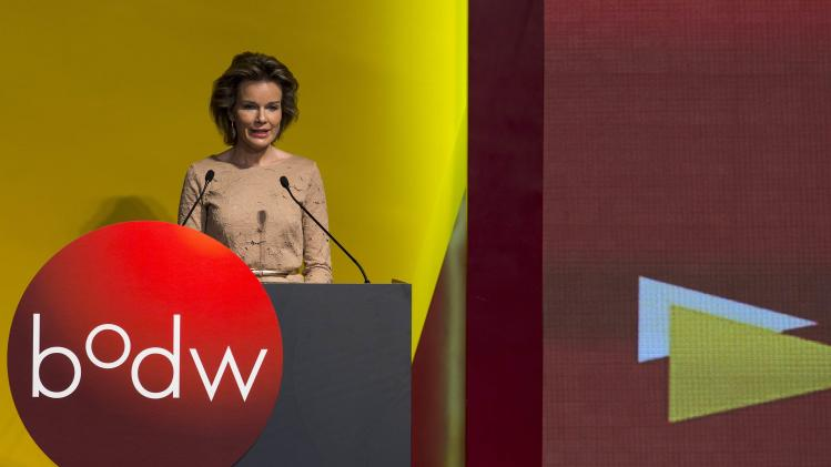 Belgium's Queen Mathilde speaks during an opening ceremony of Business of Design Week (BODW) in Hong Kong