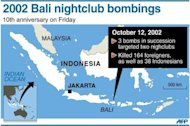 A map of Indonesia locating the nightclub bombings in Bali that killed 164 foreigners and 38 Indonesians on October 12, 2002. Friday marks the 10th anniversary of the bombings