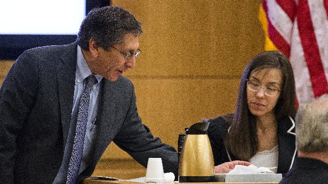Prosecutor Juan Martinez asks defendant Jodi Arias a question about her diary during cross examination in Maricopa County Superior Court, Thursday, Feb. 21, 2013 in Phoenix.  Arias, 32, faces a potential death sentence if convicted of first-degree murder in the June 2008 killing of Travis Alexander in his suburban Phoenix home.  (AP Photo/The Arizona Republic, Tom Tingle, Pool)