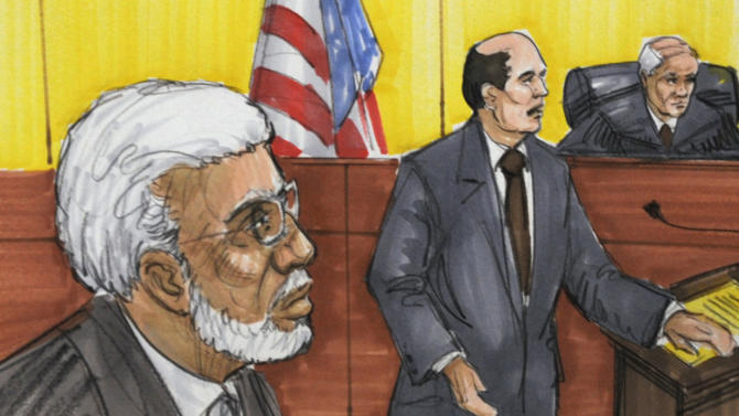 FILE - In this June 7, 2011 file courtroom sketch, Chicago businessman Tahawwur Rana, left, appears in federal court in Chicago. Rana is scheduled to be sentenced Thursday, Jan 17, 2013, in Chicago for backing terrorism in Denmark and supporting a Pakistani terrorist group that staged deadly attacks on Mumbai, India, in 2008. (AP Photo/Tom Gianni, File)