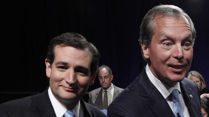 FILE - In this June 22, 2012 file photo, Texas Senate Candidates Ted Cruz, left, and Texas Lt. Gov. David Dewhurst , right, are seen after their televised debate in Dallas, Texas. Cruz, the tea party candidate for U.S. Senate has come a long way since he kicked off his campaign more than a year ago with seemingly no chance of competing against the mainstream GOP front-runner in the race, Dewhurst.( AP Photo/Pool/LM Otero, File)