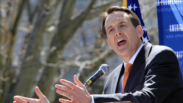 Republican presidential hopeful, former Minnesota Gov. Tim Pawlenty speaks to a crowd at a Tea Party rally at the Statehouse, Friday, April 15, 2011, in Concord, N.H. (AP Photo/Jim Cole)