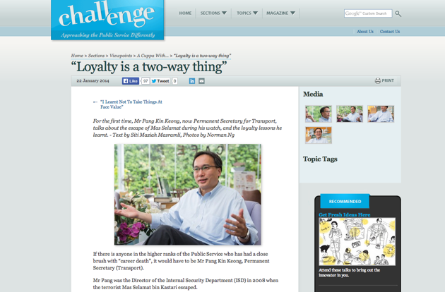 "A screengrab of the ""Challenge"" civil service magazine interview with Pang Kin Keong, the man at the helm of the ISD when Mas Selamat escaped from Whitley Road Detention Centre. (Screengrab from ""Challenge"" website)"