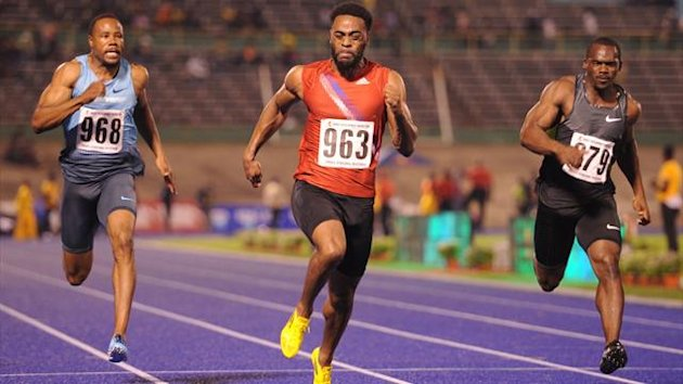 Tyson Gay of the United States wins the men's 100 meters at the Jamaica international invitational at the nationals stadium in Kingston (AFP)