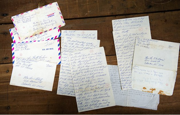 The personal letters of U.S. Army Sgt. Steve Flaherty, who was killed in action in 1969, rest on a table at Joint POW/MIA Accounting Command (JPAC) in Hanoi, Vietnam Monday, June 4, 2012. Vietnamese Defense Minister Phuong Quang Thanh presented the letters to U.S. Defense Secretary Leon Panetta during a press conference at the defense ministry.