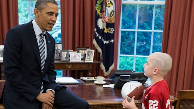7-Year-Old Cancer Patient Turned Football Star Meets Obama (ABC News)