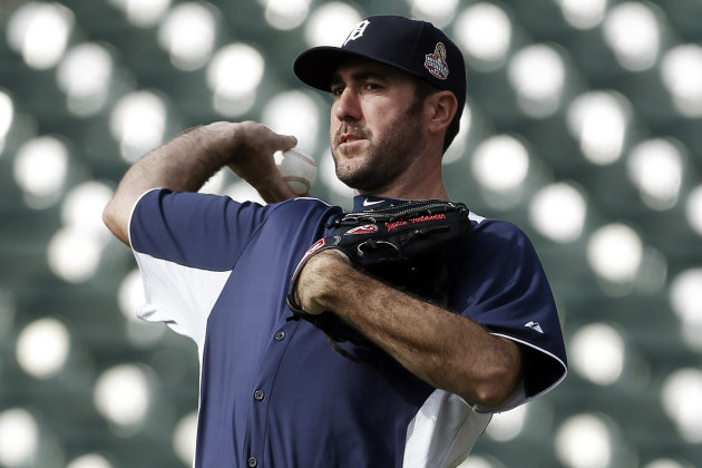Detroit Tigers pitcher Justin Verlander throws during a workout at Comerica Park in Detroit, Monday, Oct. 22, 2012. When Dave Dombrowski first took over as president of the Detroit Tigers, they lost 2