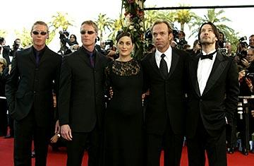 Neil Rayment, Adrian Rayment, Carrie Anne Moss, Hugo Weaving and Keanu Reeves The Matrix: Reloaded Premiere Cannes Film Festival 5/15/2003