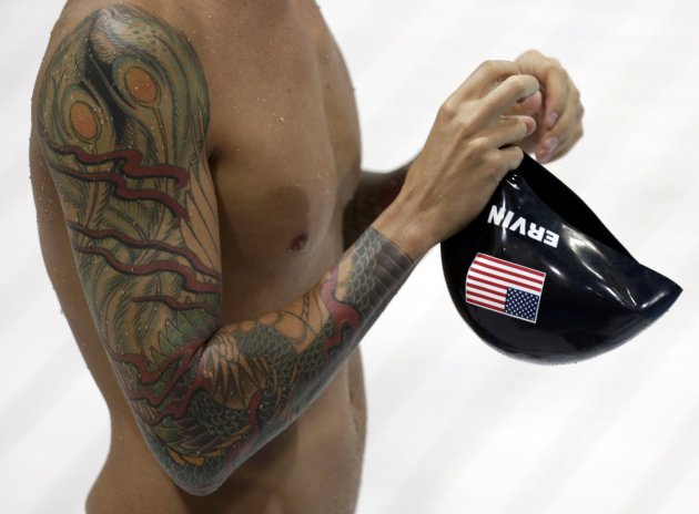 Anthony Ervin of the U.S. attends a training session at the main pool of the Aquatics Centre before the start of the London 2012 Olympic Games in London