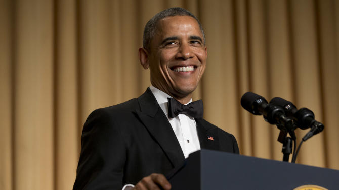 President Barack Obama smiles while making a joke during his speech at the White House Correspondents' Association (WHCA) Dinner at the Washington Hilton Hotel, Saturday, May 3, 2014, in Washington. (AP Photo/Jacquelyn Martin)