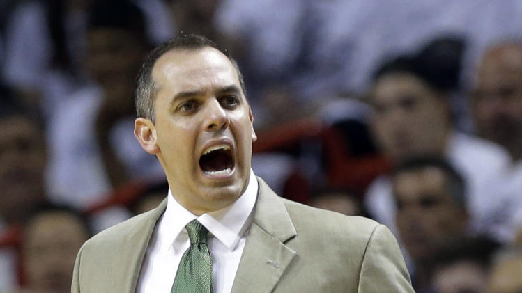 Indiana Pacers head coach Frank Vogel yells at his team during the first half of Game 1 in their NBA basketball Eastern Conference finals playoff series against the Miami Heat, Wednesday, May 22, 2013 in Miami. (AP Photo/Lynne Sladky)