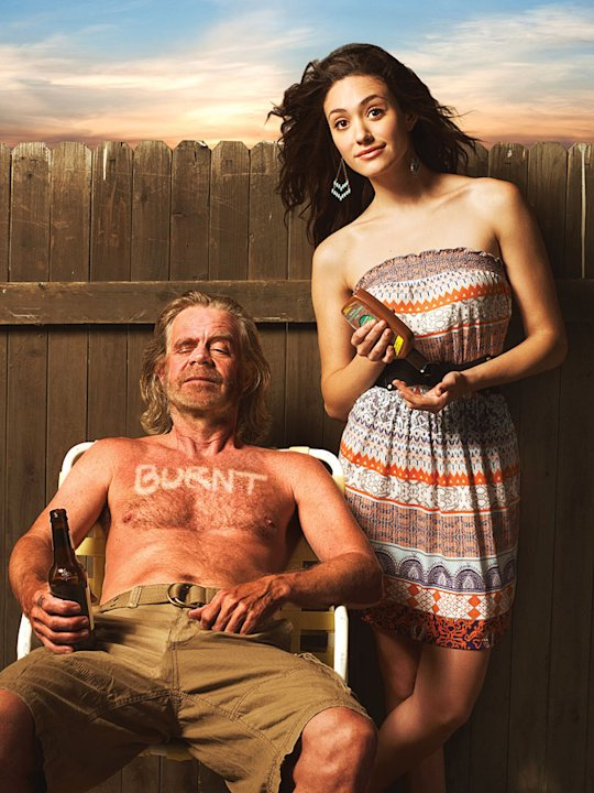 William H. Macy as Frank Gallagher and Emmy Rossum as Fiona Gallagher in &quot;Shameless.&quot; 