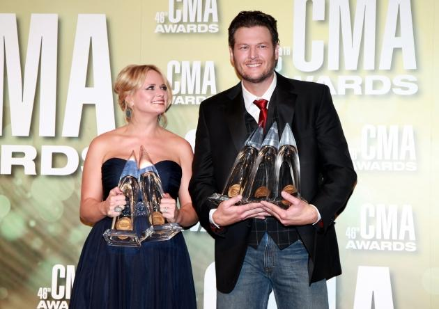 Miranda Lambert and Blake Shelton pose in the press room at the 46th annual CMA Awards at the Bridgestone Arena in Nashville, Tennesseeon November 1, 2012 -- Getty Premium