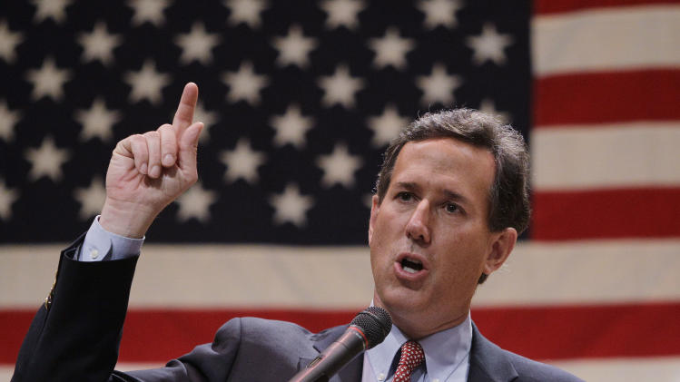 Republican presidential candidate, former Pennsylvania Sen. Rick Santorum speaks during a campaign stop at the Lake County Republican Party Lincoln Day Dinner, Friday, March 2, 2012, in Willoghby, Ohio.  (AP Photo/Eric Gay)