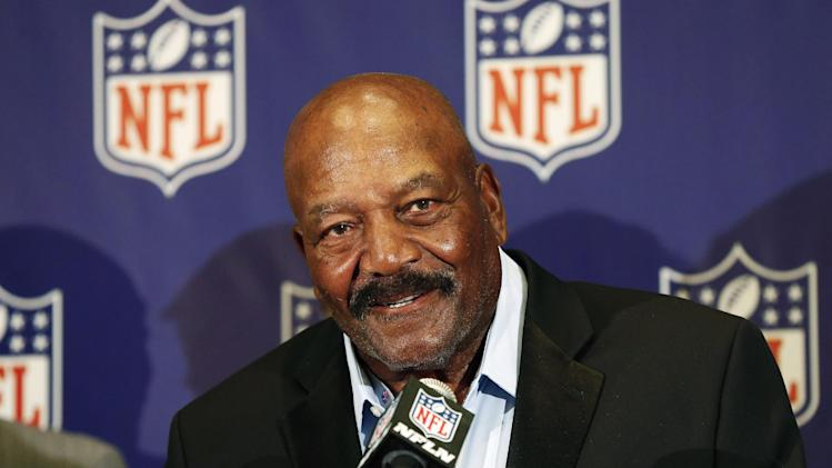 Former Cleveland Brown Hall of Famer Jim Brown speaks during an NFL football news conference at the Arizona Biltmore, Monday, March 18, 2013, in Phoenix. They announced the NFL has agreed to pay $42 million as part of a settlement with a group of retired players who challenged the league over using their names and images without their consent. (AP Photo/Matt York)