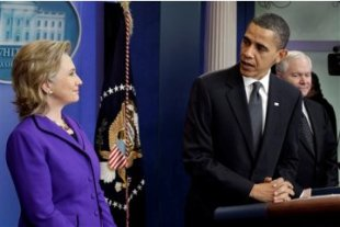 Barack Obama turns to Hillary Clinton