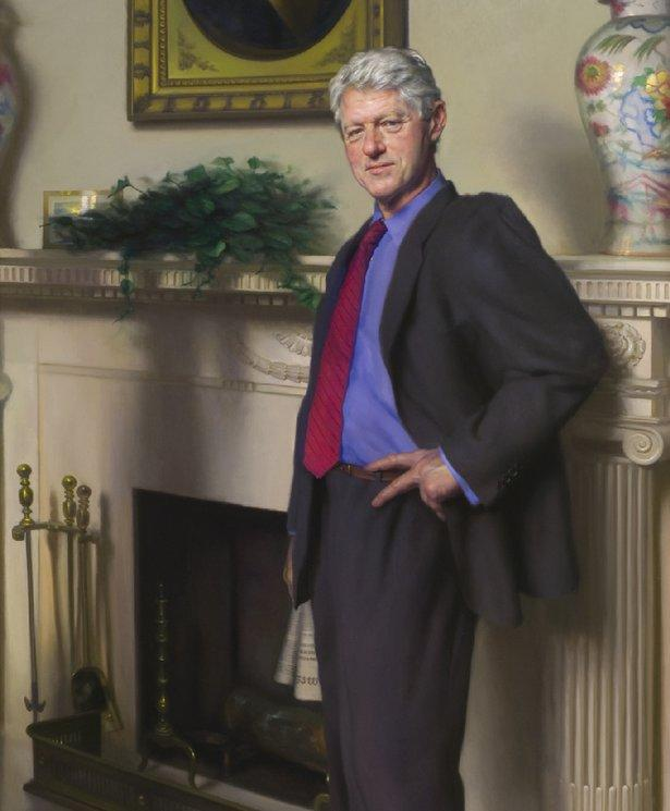 In a Bill Clinton Portrait, the Devil's in a Blue Dress