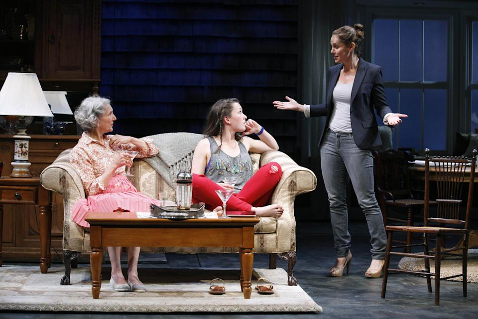 "This undated photo released by The Publicity Office shows, from left, Beth Dixon, Virginia Kull and Amy Brenneman in a scene from Gina Gionfriddo's play ""Rapture, Blister, Burn"" in New York.  (AP Photo/The Publicity Office, Carol Rosegg)"