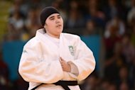 Saudi Arabia's Wojdan Shaherkani looks during the women's +78kg judo contest of the London 2012 Olympic Games on August 3, 2012 at the ExCel arena in London. AFP PHOTO / TOSHIFUMI KITAMURA