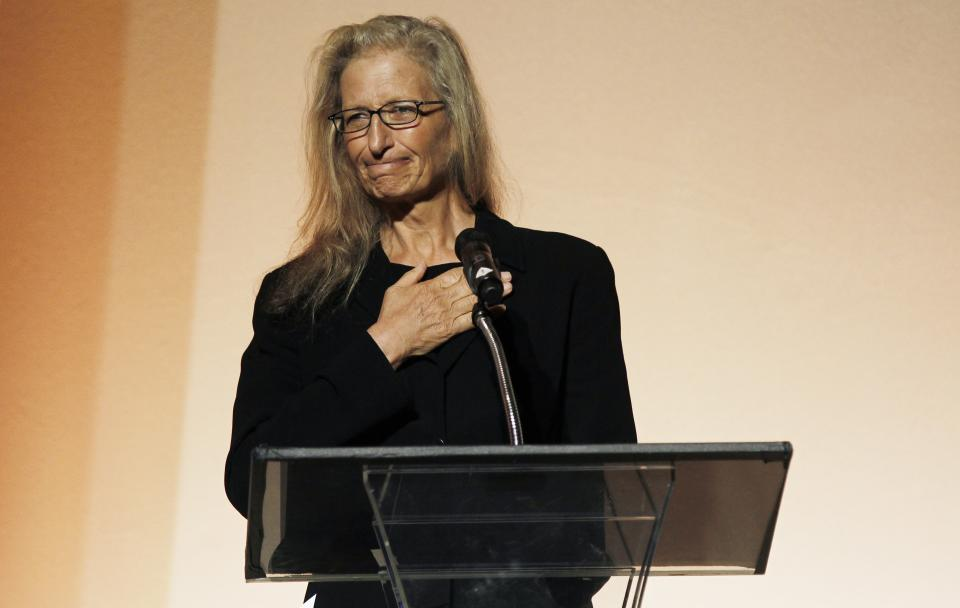 Photographer Annie Leibovitz speaks at the 7th Annual MOCA Award to Distinguished Women in the Arts luncheon in Beverly Hills, Calif. Tuesday, May 1, 2012.  The event honored Leibovitz.  (AP Photo/Matt Sayles)