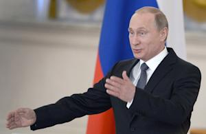 Russian President Vladimir Putin speaks at the Kremlin …