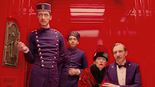 "This film image released by Fox Searchlight Films shows Paul Schlase, Tony Revelori, Tilda Swinton and Ralph Fiennes in a scene from ""The Grand Budapest Hotel."" (AP Photo/Fox Searchlight Films, Martin Scali)"