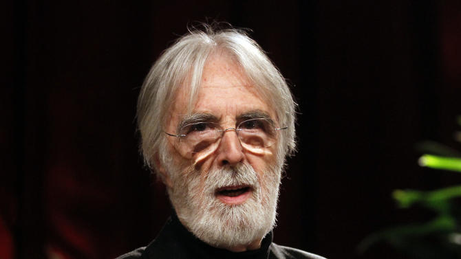 Austrian director Michael Haneke speaks during a presentation of humanistic aging research in Vienna, Austria, Wednesday, March 20, 2013. (AP Photo/Ronald Zak)