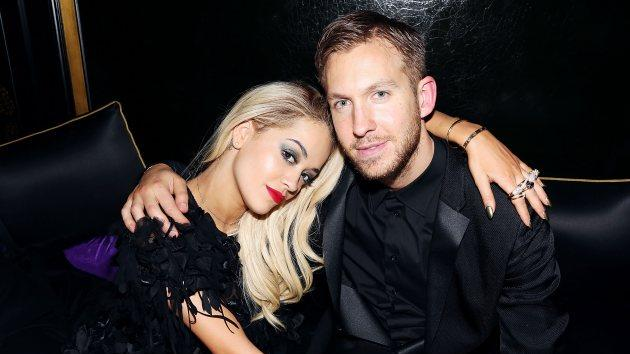 Rita Ora and Calvin Harris attend the Three Six Zero and Nokia MixRadio Party at Hakkasan on February 19, 2014 in London -- Getty Images