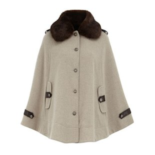 Oat Fur Collar Cape Dorothy Perkins