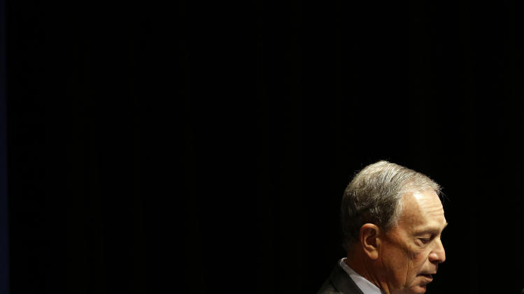 FILE - In this Jan. 14, 2013, file photo, New York City Mayor Michael Bloomberg speaks at a gun violence summit at Johns Hopkins Bloomberg School of Public Health in Baltimore. On Saturday, March 23, 2013, Bloomberg announced on a new $12 million television ad campaign from Mayors Against Illegal Guns will push senators in key states to back gun control efforts including comprehensive background checks. (AP Photo/Patrick Semansky, File)
