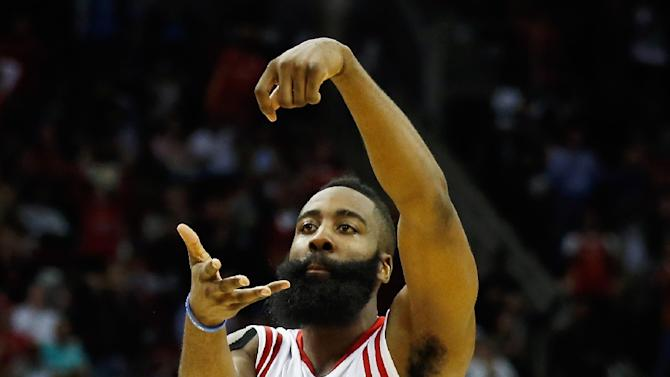 James Harden of the Houston Rockets during their game against the Brooklyn Nets at the Toyota Center on February 27, 2015