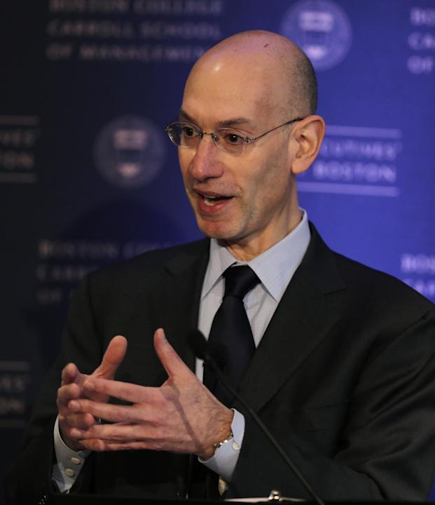 NBA Commissioner Adam Silver gestures during an address, Wednesday, March 12, 2014, in Boston. (AP Photo/Charles Krupa)