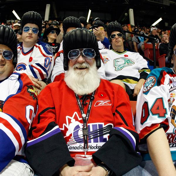 CHL fans in costumes watch the game between the Moncton Wildcats and Windsor Spitfires during the 2010 Mastercard Memorial Cup Tournament at the Keystone Centre Getty Images