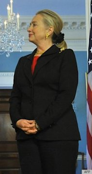The horror! Hillary Clinton wears scrunchies! Photo courtesy of AP