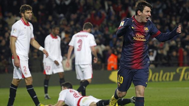 Barcelona's Lionel Messi celebrates a goal against Sevilla during their Spanish First division soccer league match at Camp Nou stadium in Barcelona, February 23, 2013. REUTERS