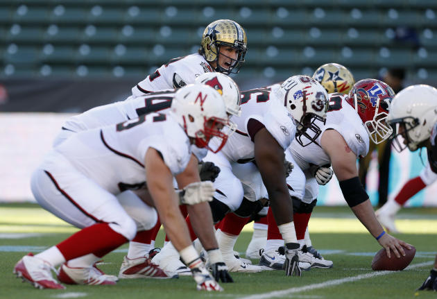 IMAGE DISTRIBUTED BY AP IMAGES FOR NFLPA- American team quarterback Jordan Rodgers (12) of Vanderbilt calls out a play during the NFLPA Collegiate Bowl on Saturday, Jan. 19, 2013 in Carson, Calif. (Ri