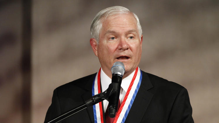 Former Secretary of Defense Robert Gates speaks after receiving the Liberty Medal during a ceremony at the National Constitution Center Thursday, Sept. 22, 2011 in Philadelphia. Since 1989, the Liberty Medal has been given annually to individuals or organizations whose actions strive to bring liberty to people worldwide. (AP Photo/Alex Brandon)