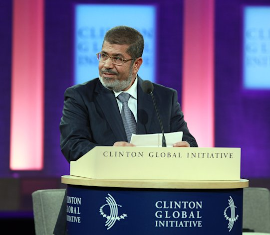 Egyptian President Mohammed Morsi speaks at the Clinton Global Initiative in New York Tuesday, Sept. 25, 2012. Morsi, the country's first democratically elected leader, says freedom of expression must be joined with responsibility in a speech that addressed the violent clashes that erupted across the Muslim world in reaction to an anti-Islam video produced in the United States. (AP Photo/David Karp)