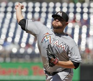 Nolasco tosses 4-hitter to lead Marlins over Nats
