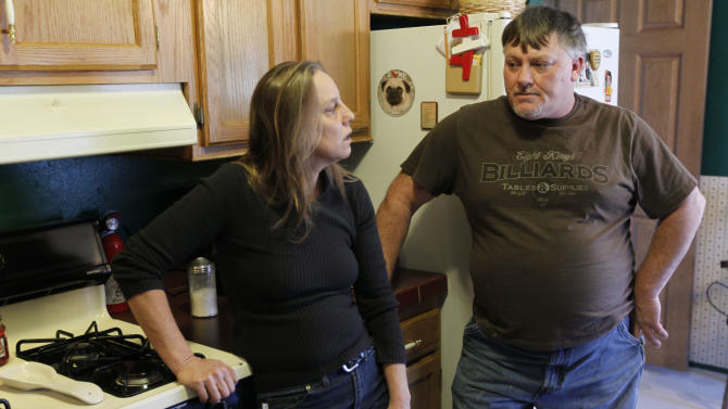 In a Monday, Feb. 13, 2012 photo, Kim Grosso and Ken Morcom are seen during an interview with the Associated Press at home after their water was tested in Dimock, Pa. The U.S. Environmental Protection Agency appears to be ramping up its interest in the Marcellus Shale a rock formation in Pennsylvania and surrounding states that is believed to hold the nation's largest reservoir of gas with investigations in both the northeastern and southwestern corners of Pennsylvania. The drilling industry accuses EPA of overreach. (AP Photo/Matt Rourke)