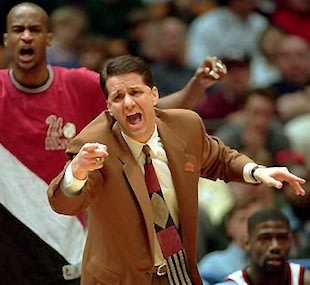 Rigo Nunez (rear) with his former coach John Calipari at UMass — AP