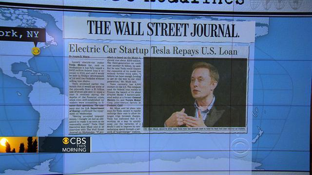 Headlines at 8:30: Tesla Motors fully repays $425 million federal loan